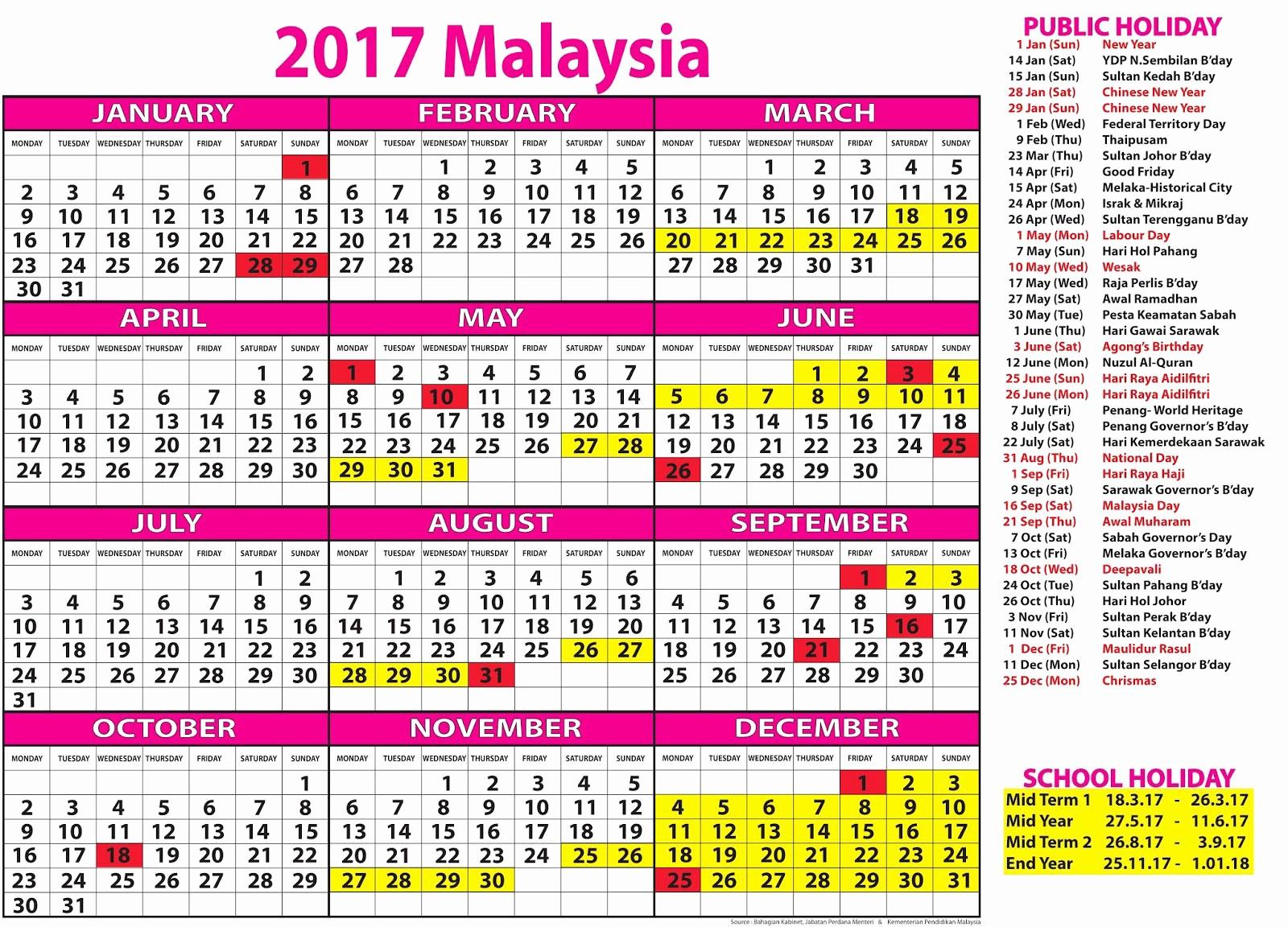2017 Editable Calendar with Holidays Unique October 2017 Calendar with Holidays Malaysia – Printable