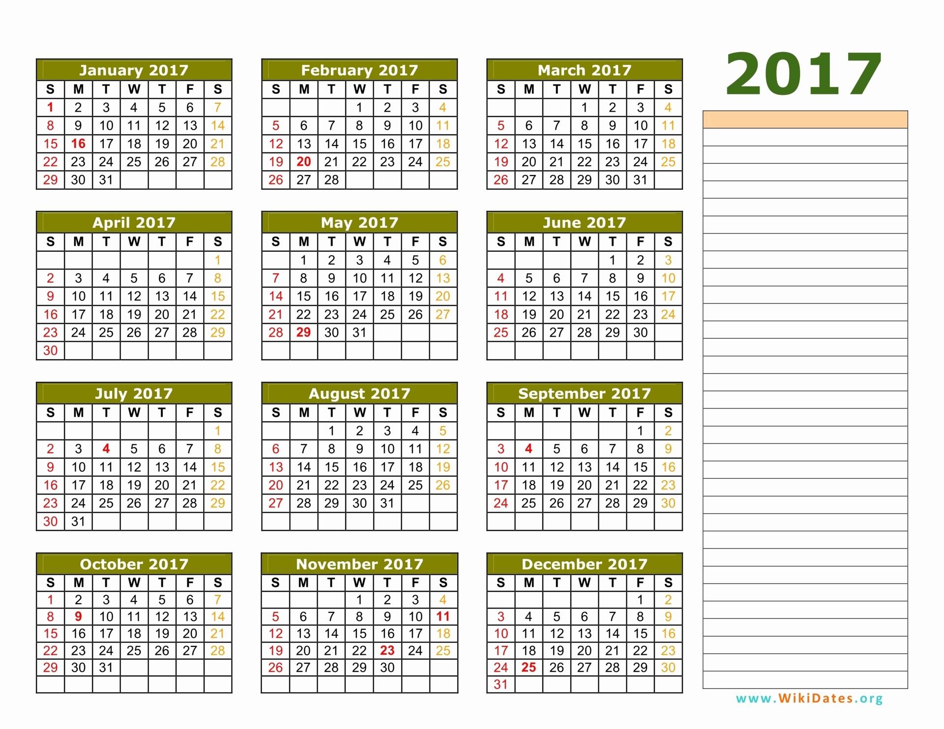 2017 Full Year Calendar Template Awesome 2017 Calendar