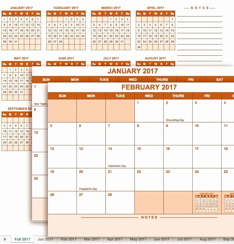 2017 Full Year Calendar Template Beautiful Free Excel Calendar Templates