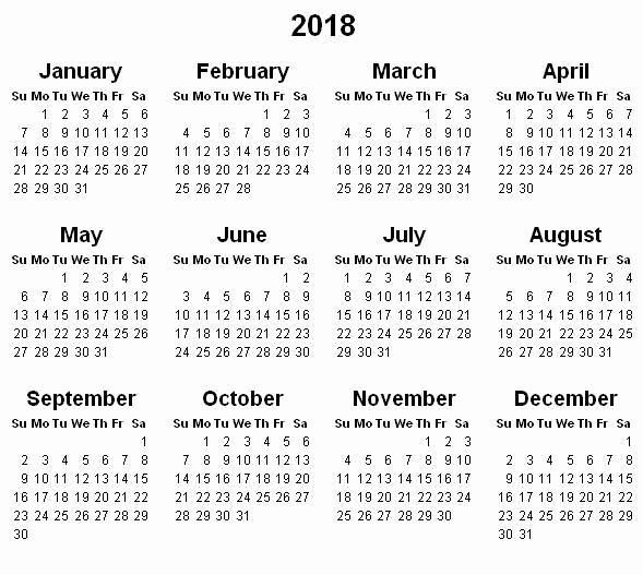 2017 Full Year Calendar Template Beautiful Yearly Calendar 2018