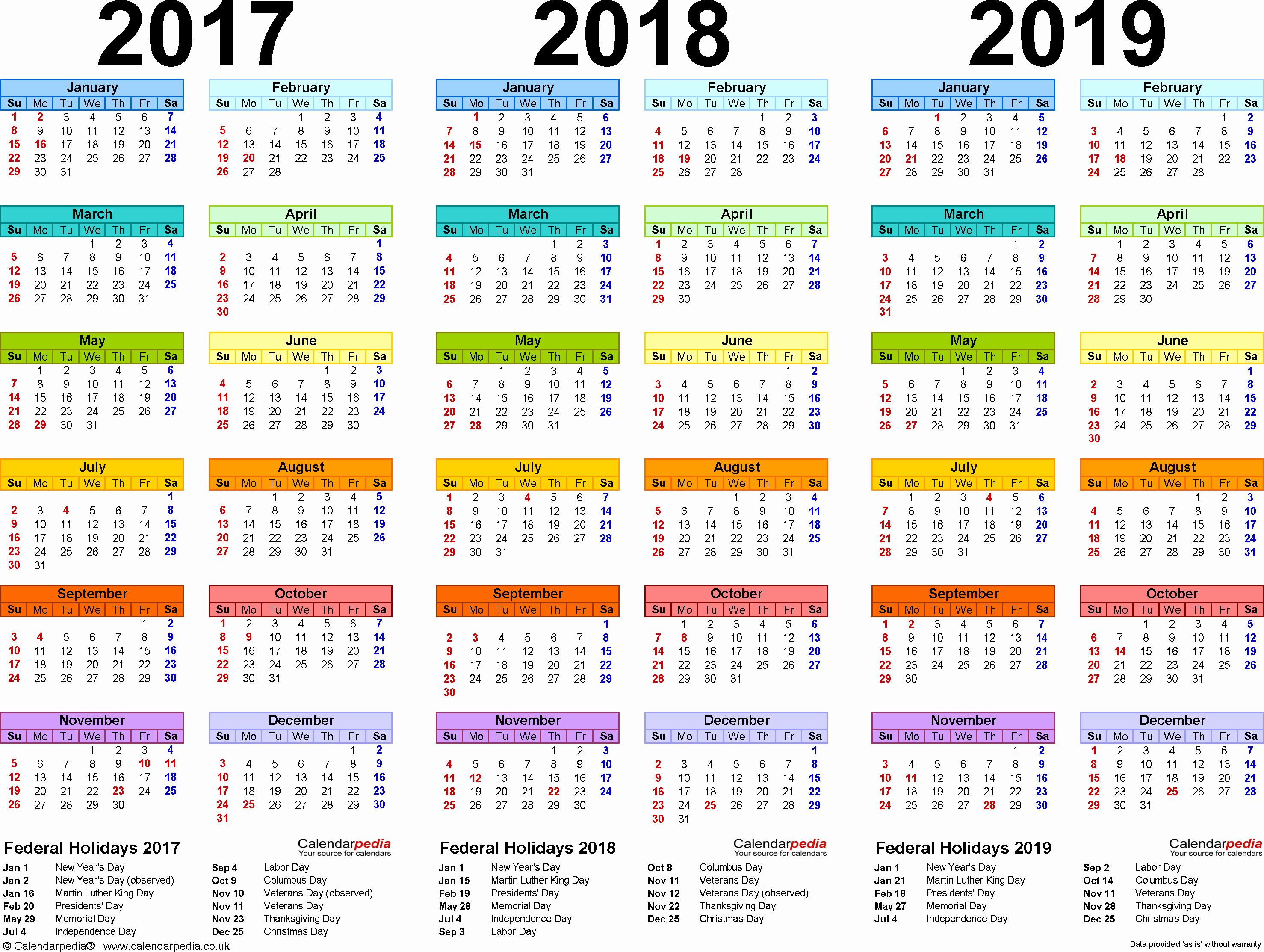 2017 Full Year Calendar Template Best Of 2017 2018 2019 Calendar 4 Three Year Printable Pdf Calendars