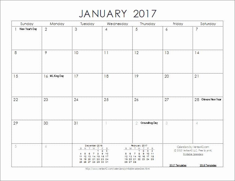2017 Full Year Calendar Template Fresh 2017 Calendar Templates and