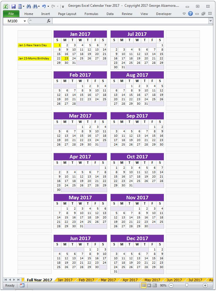 2017 Full Year Calendar Template Fresh Excel Calendar Year 2017 Spreadsheet – Buyexceltemplates