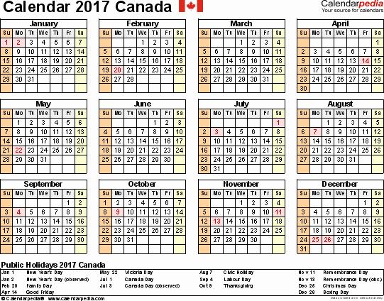 2017 Full Year Calendar Template Inspirational Canada Calendar 2017 Free Word Calendar Templates