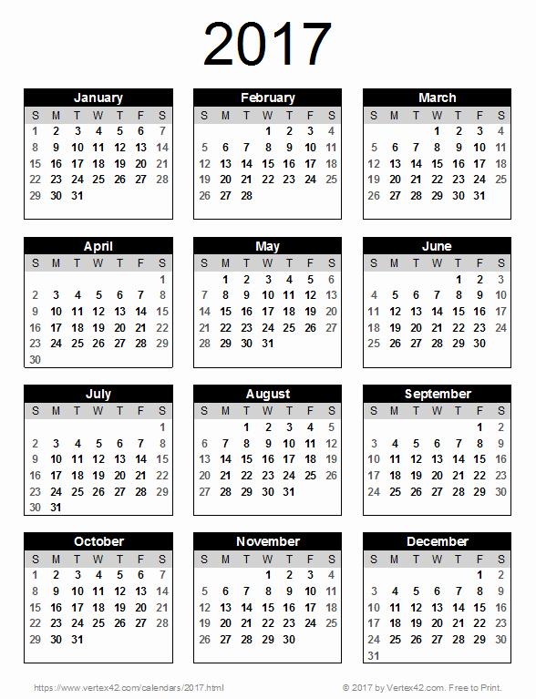 2017 Full Year Calendar Template Lovely 2017 Calendar Templates and