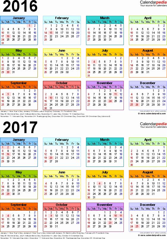 2017 Full Year Calendar Template Luxury 2016 2017 Calendar Free Printable Two Year Word Calendars
