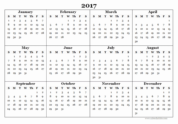 2017 Full Year Calendar Template New 2017 Blank Yearly Calendar Template Free Printable Templates