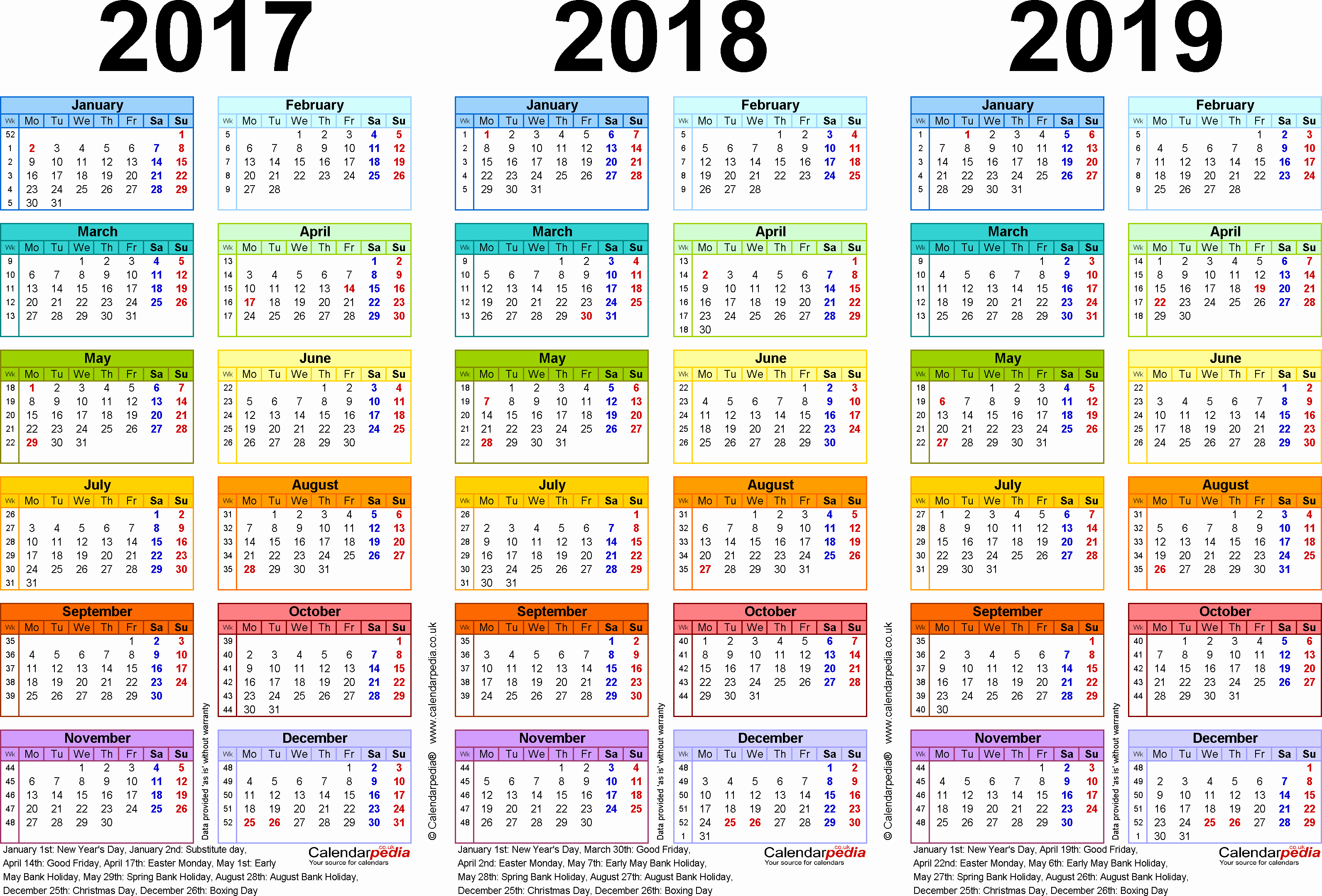 2017 Full Year Calendar Template New Three Year Calendars for 2017 2018 & 2019 Uk for Pdf