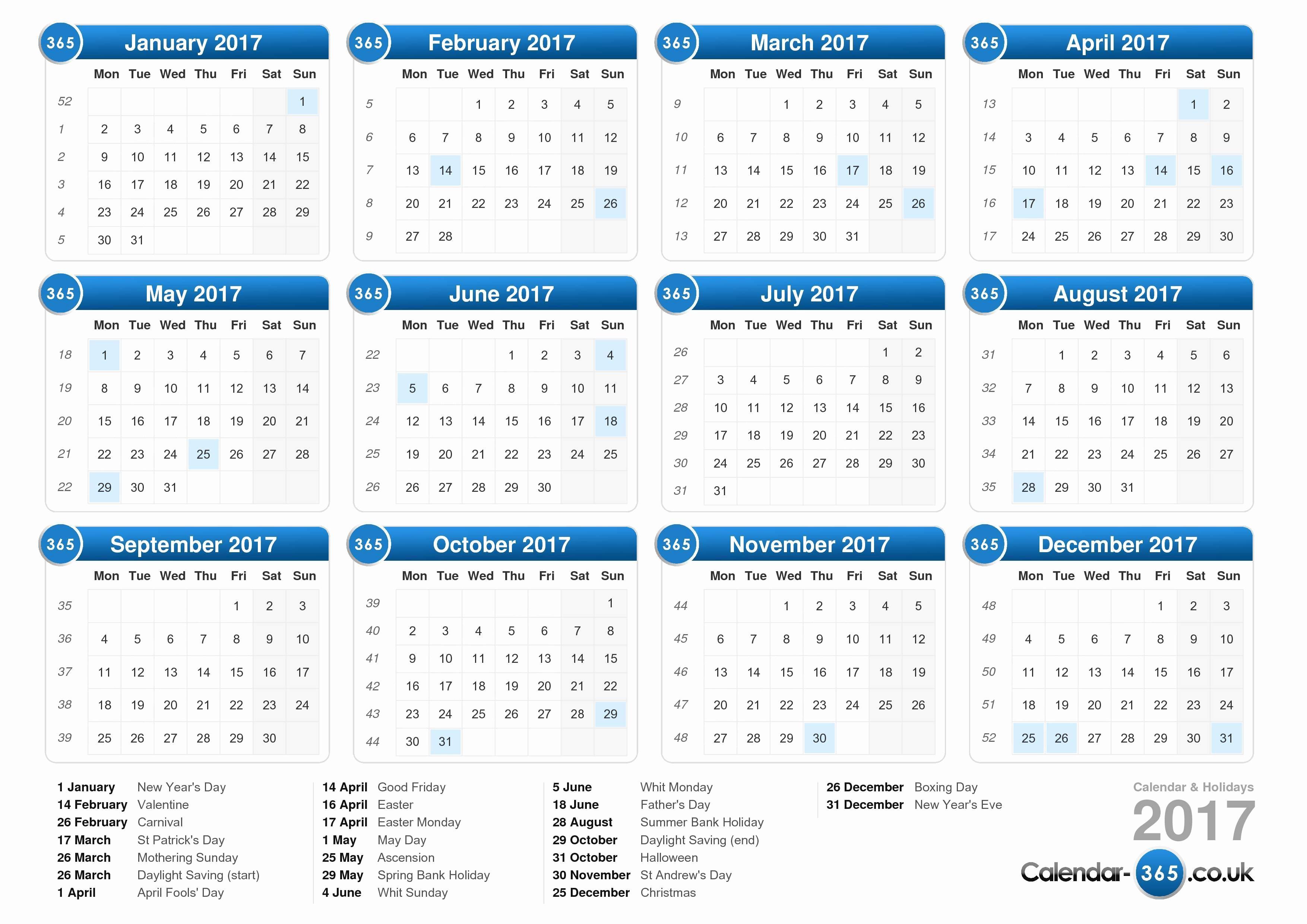 2017 Full Year Calendar Template Unique 2017 Calendar Uk