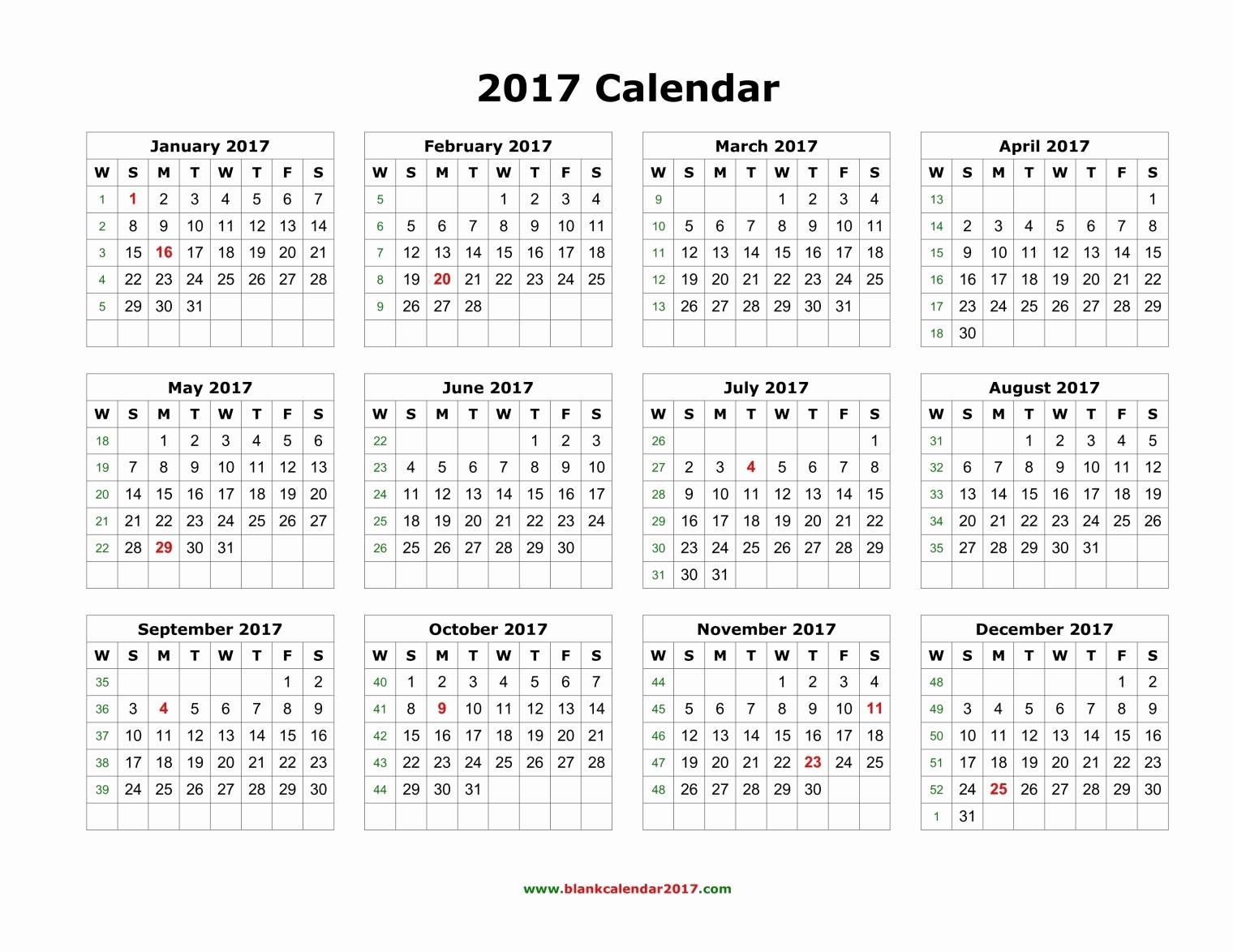 2017 Full Year Calendar Template Unique Blank Calendar 2017