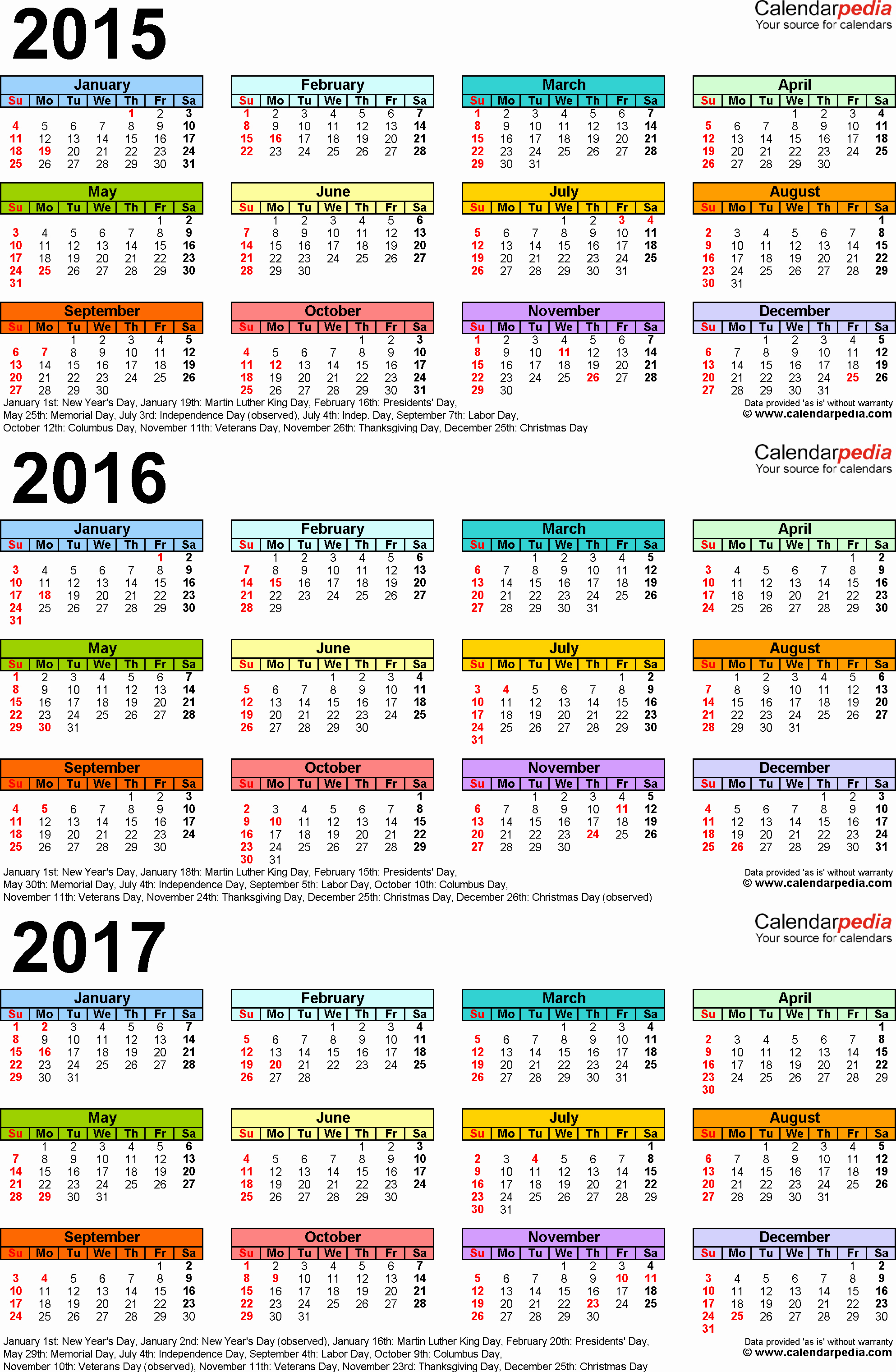 2017 Full Year Printable Calendar Awesome 2015 2016 2017 Calendar 4 Three Year Printable Pdf Calendars