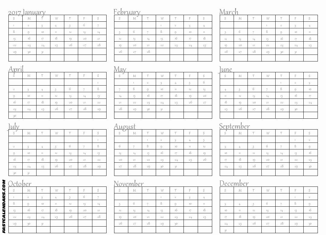 2017 Full Year Printable Calendar Best Of Blank 2017 Full Year Calendar