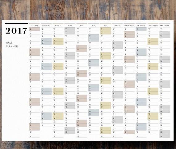 2017 Full Year Printable Calendar Elegant Printable Pdf A1 Wall Planner 2017 Full Year