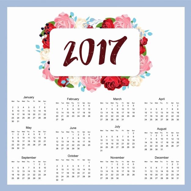 2017 Full Year Printable Calendar Fresh 2017 Calendar Design Vector