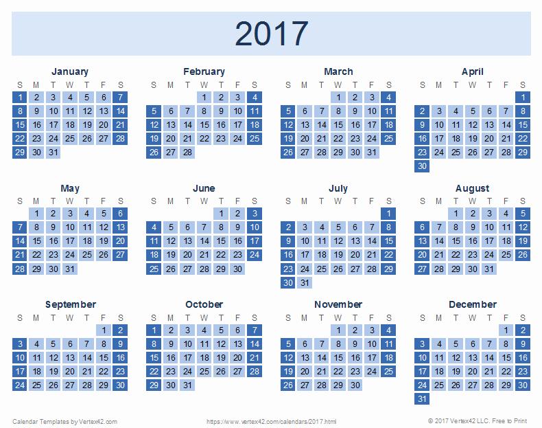 2017 Full Year Printable Calendar Fresh 2017 Calendar Templates and
