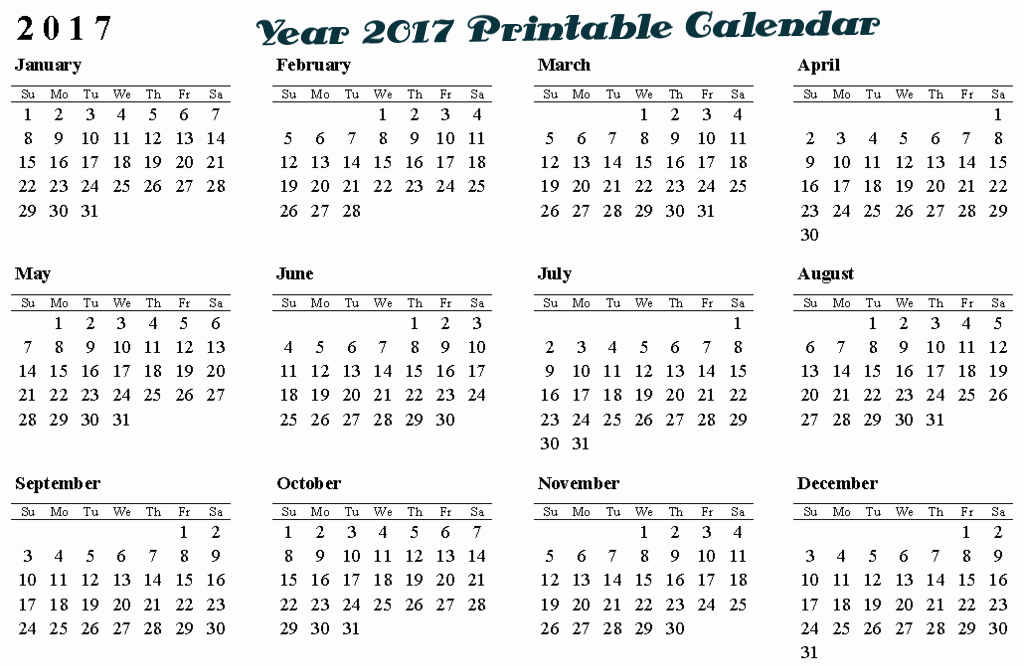 2017 Full Year Printable Calendar Fresh 2017 Calendar Year Related Keywords 2017 Calendar Year
