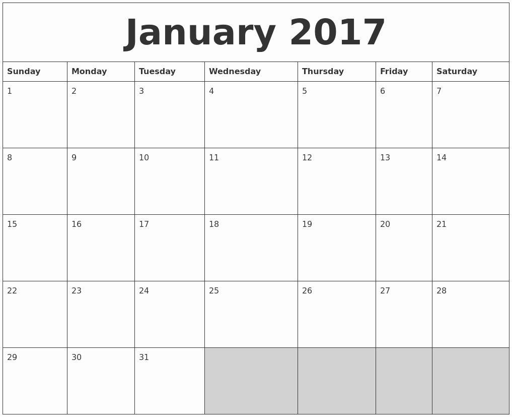 2017 Full Year Printable Calendar Fresh January 2017 Blank Printable Calendar