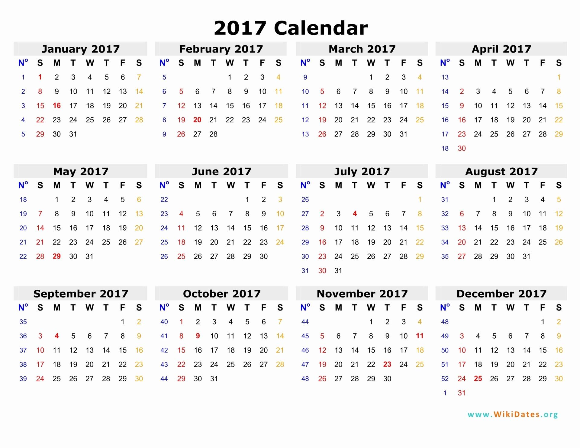 2017 Full Year Printable Calendar Inspirational 2017 Calendar