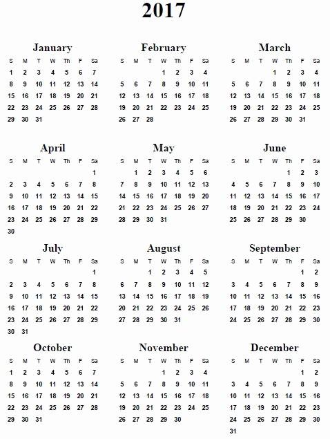 2017 Full Year Printable Calendar Inspirational 2017 Printable Calendar Template Holidays Excel & Word