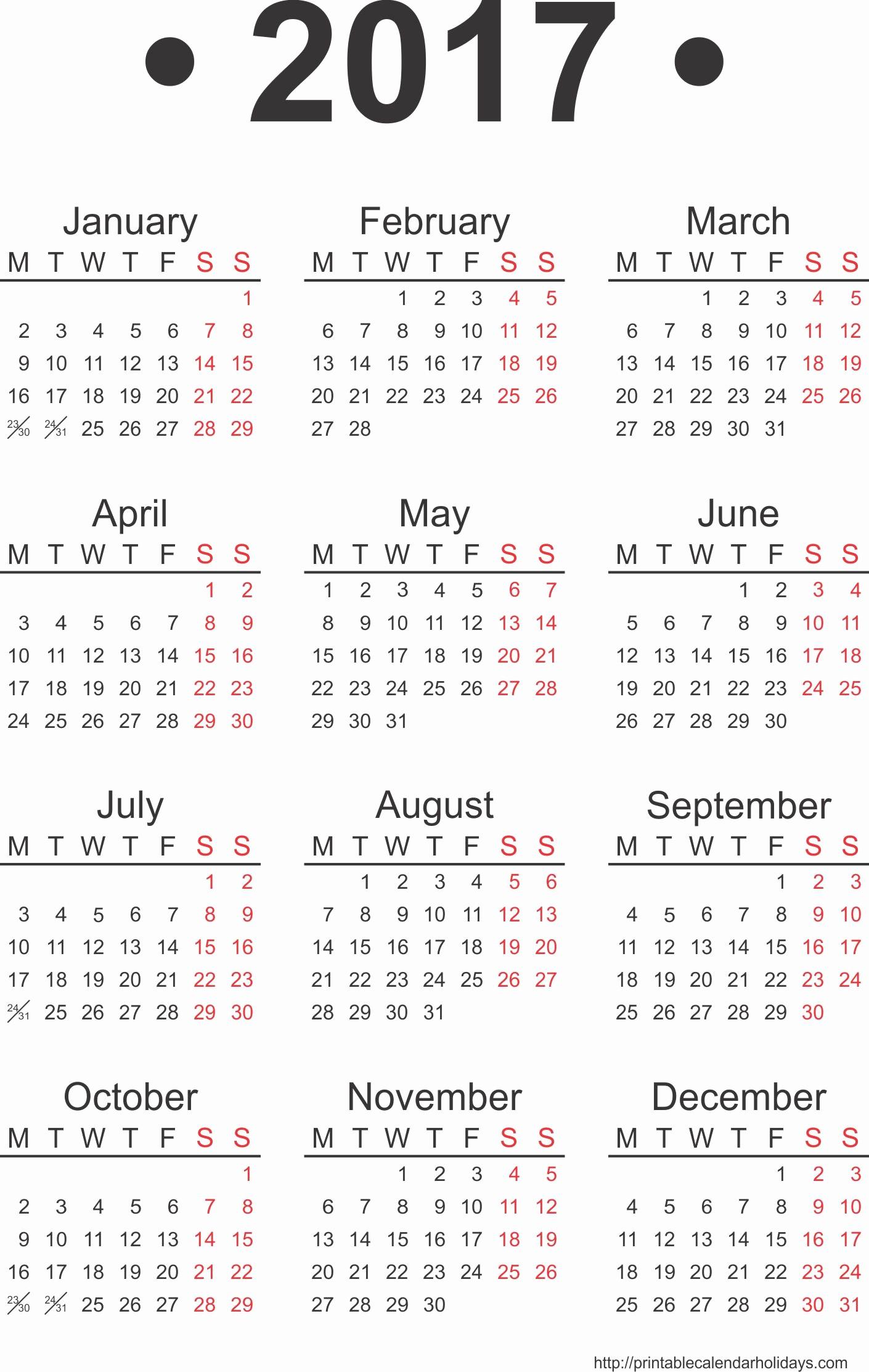 2017 Full Year Printable Calendar Inspirational 2017 Yearly Calendar Template Print