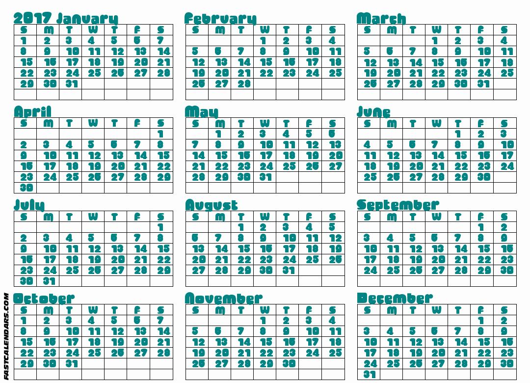 2017 Full Year Printable Calendar Inspirational Blank 2017 Full Year Calendar