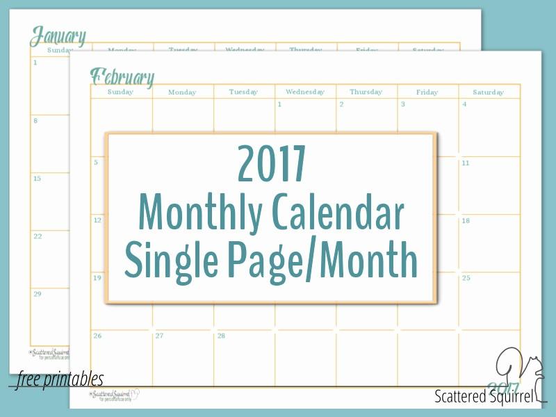 2017 Full Year Printable Calendar Lovely 2017 Full Size Monthly Calendar Printables are Here
