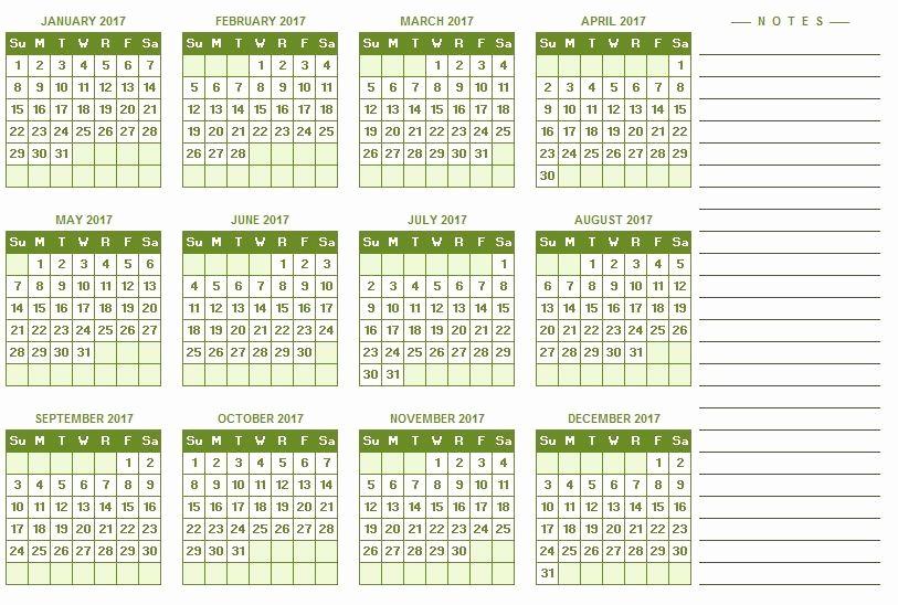 2017 Full Year Printable Calendar Lovely 2017 Yearly Calendar Excel