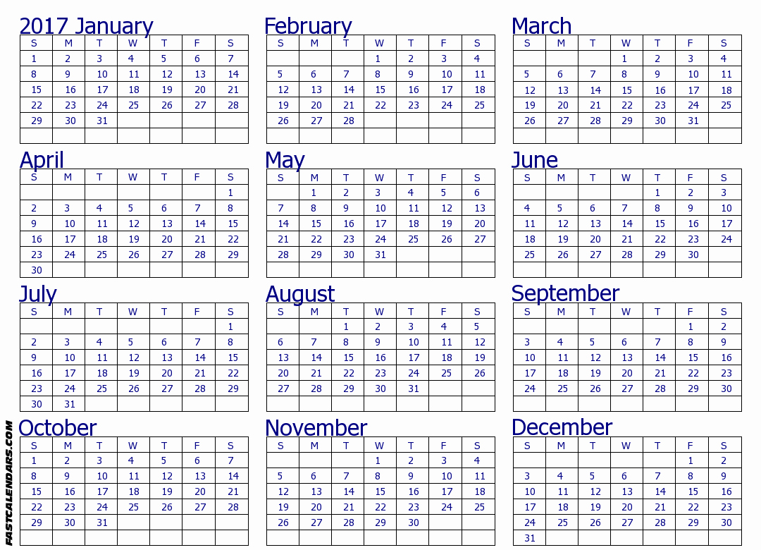 2017 Full Year Printable Calendar Lovely Blank 2017 Full Year Calendar