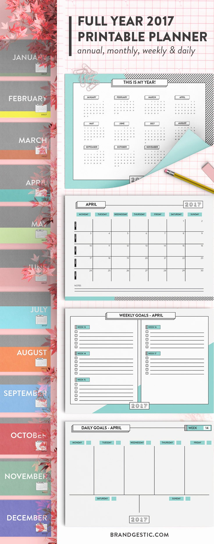 2017 Full Year Printable Calendar Lovely Printable Calendar & Planner