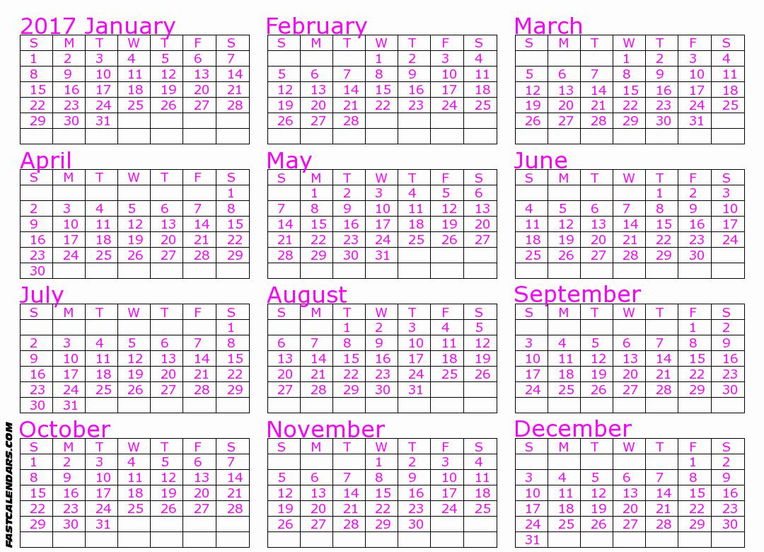 2017 Full Year Printable Calendar Luxury Blank 2017 Full Year Calendar