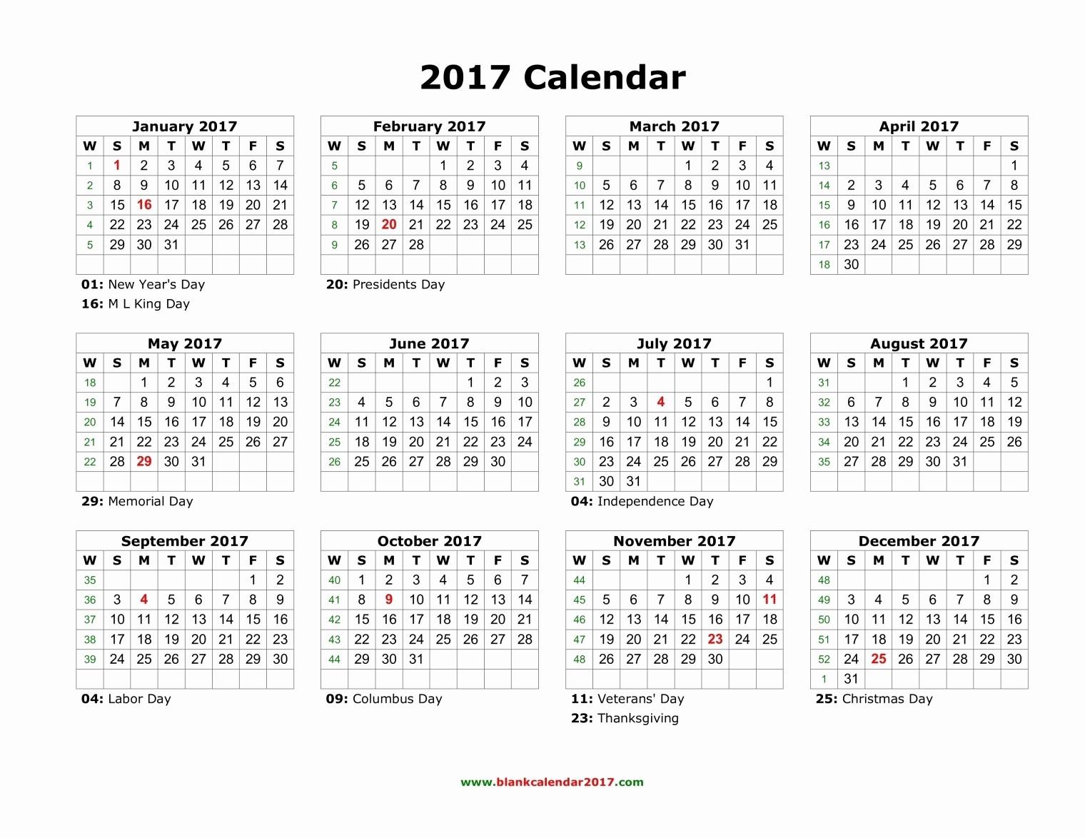 2017 Full Year Printable Calendar Luxury Blank Calendar 2017