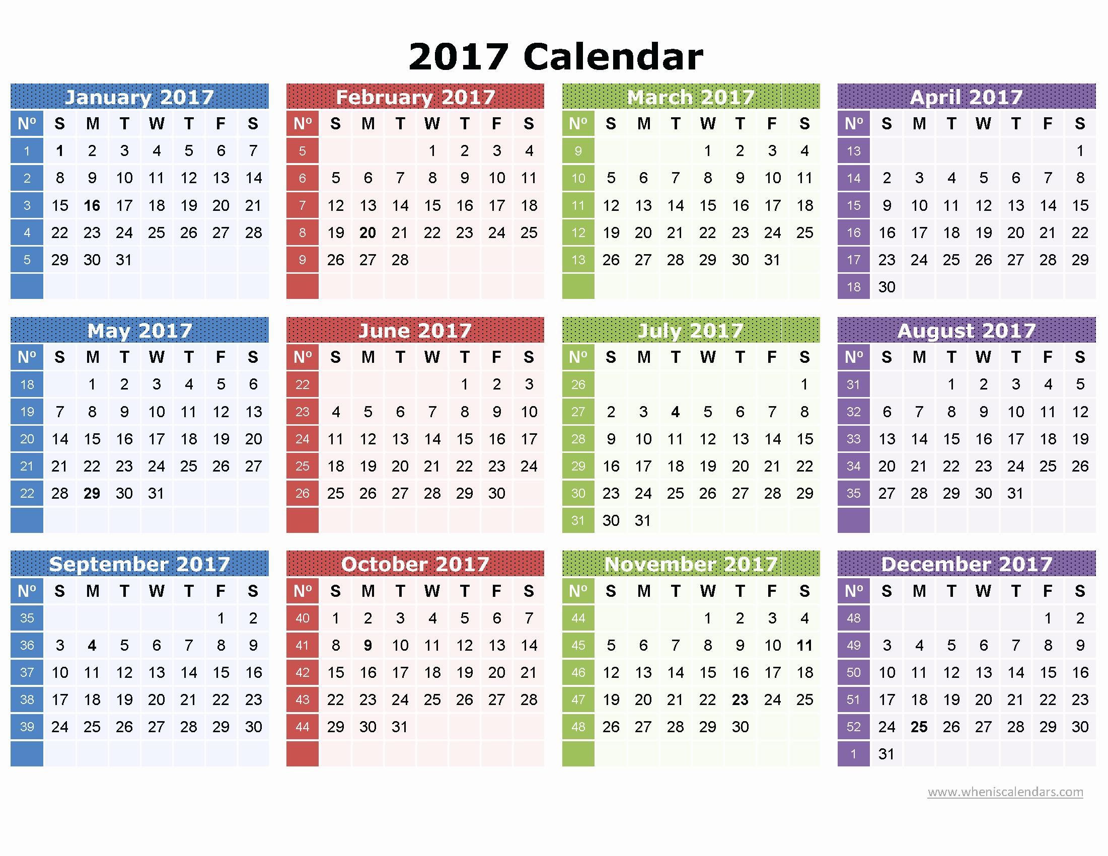 2017 Full Year Printable Calendar New Full Page Printable Calendar 2017