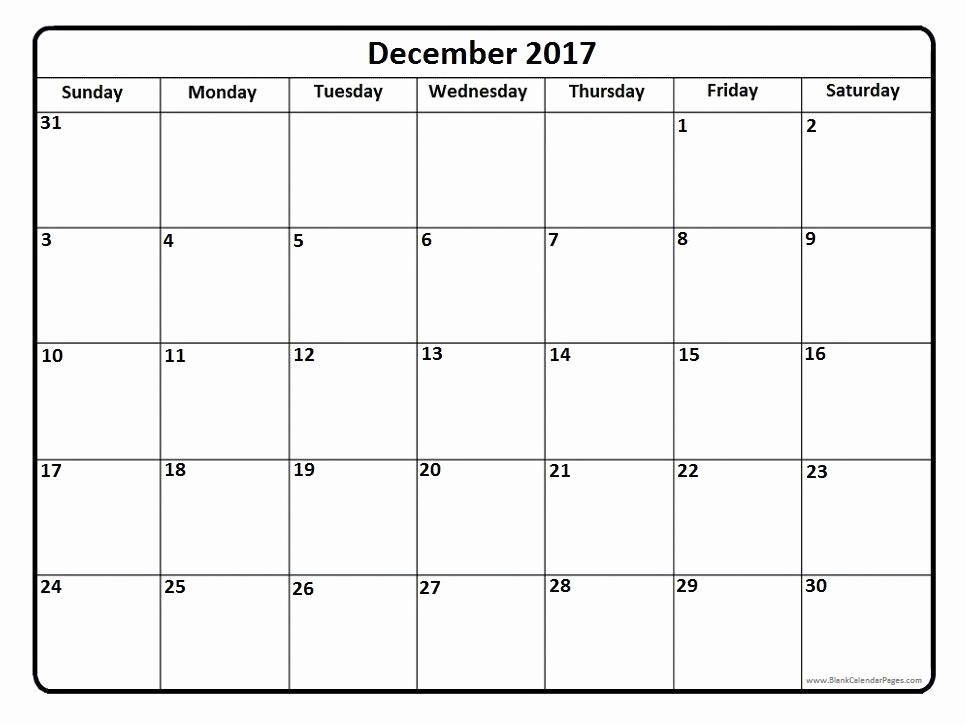 2017 Full Year Printable Calendar New Print Full Page December Calendar 2017