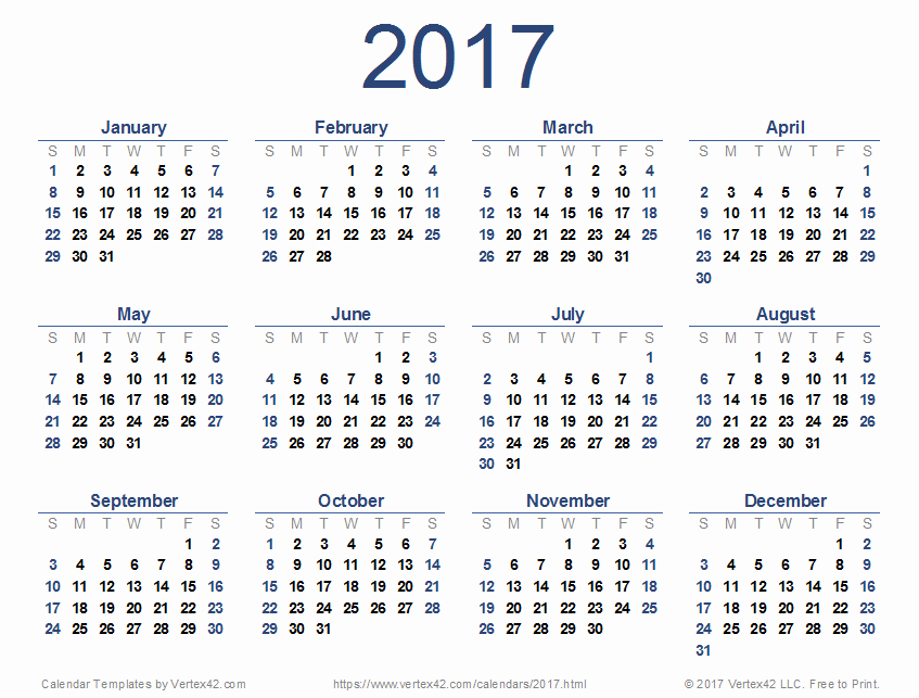 2017 Full Year Printable Calendar Unique 2017 Calendar Templates and