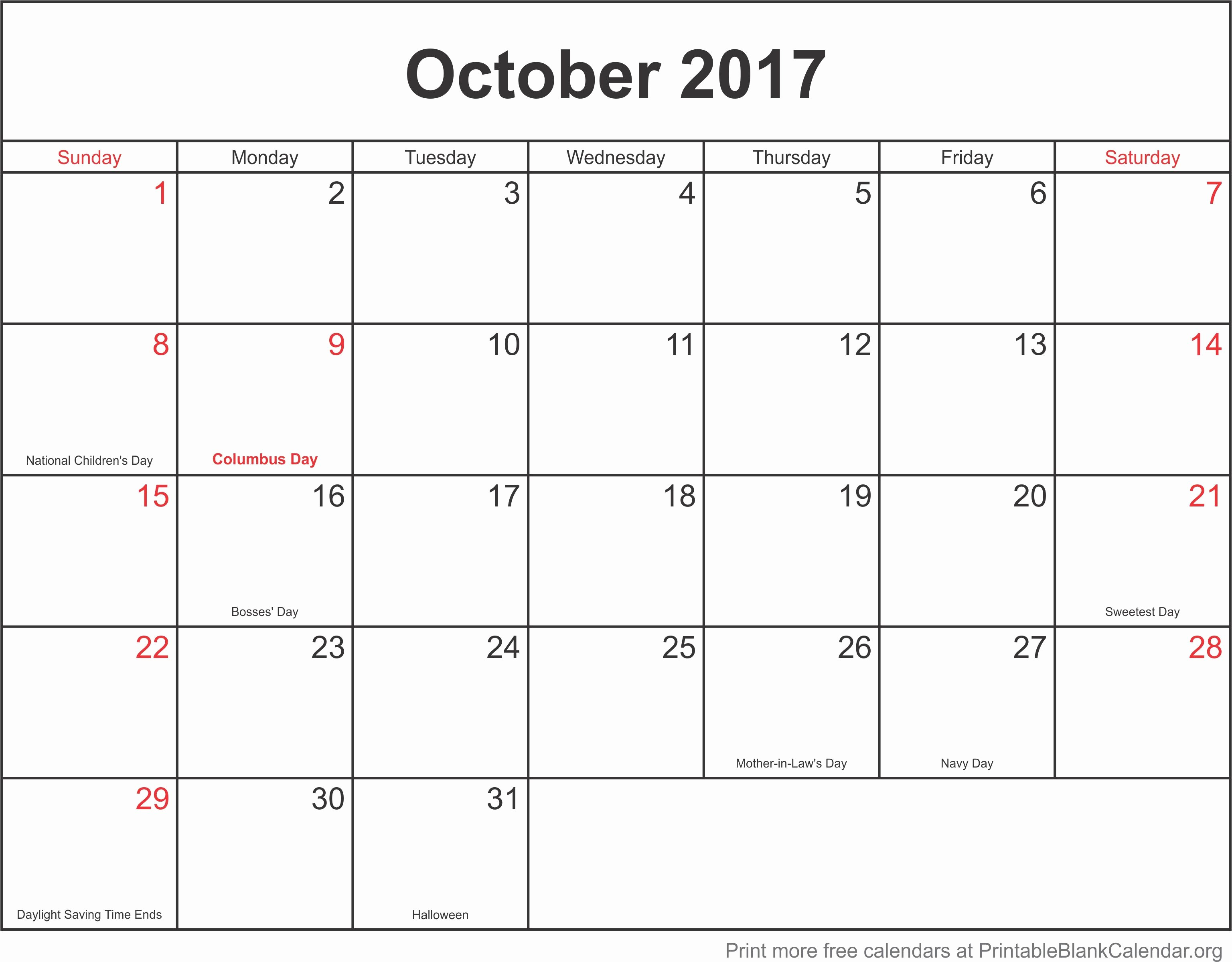 2017 Monthly Calendar Free Printable Best Of Printable Monthly Calendar 2017 October