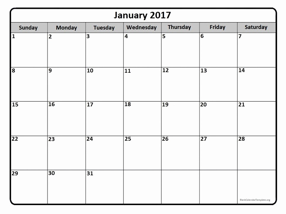 2017 Monthly Calendar Free Printable Elegant Blank Monthly Calendar 2017