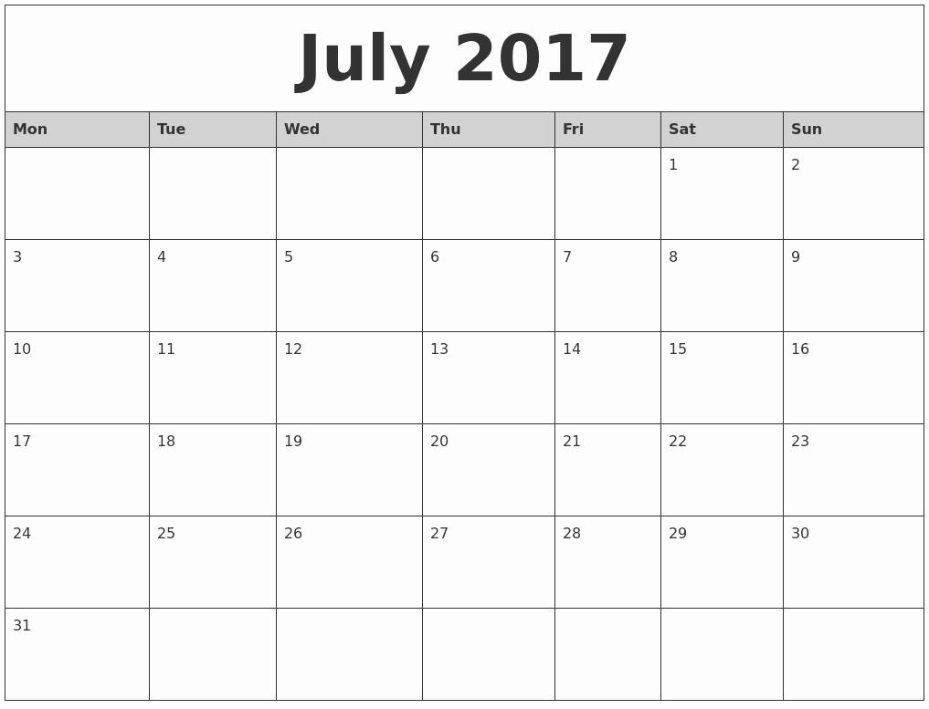 2017 Monthly Calendar Free Printable Fresh July 2017 Monthly Calendar Printable