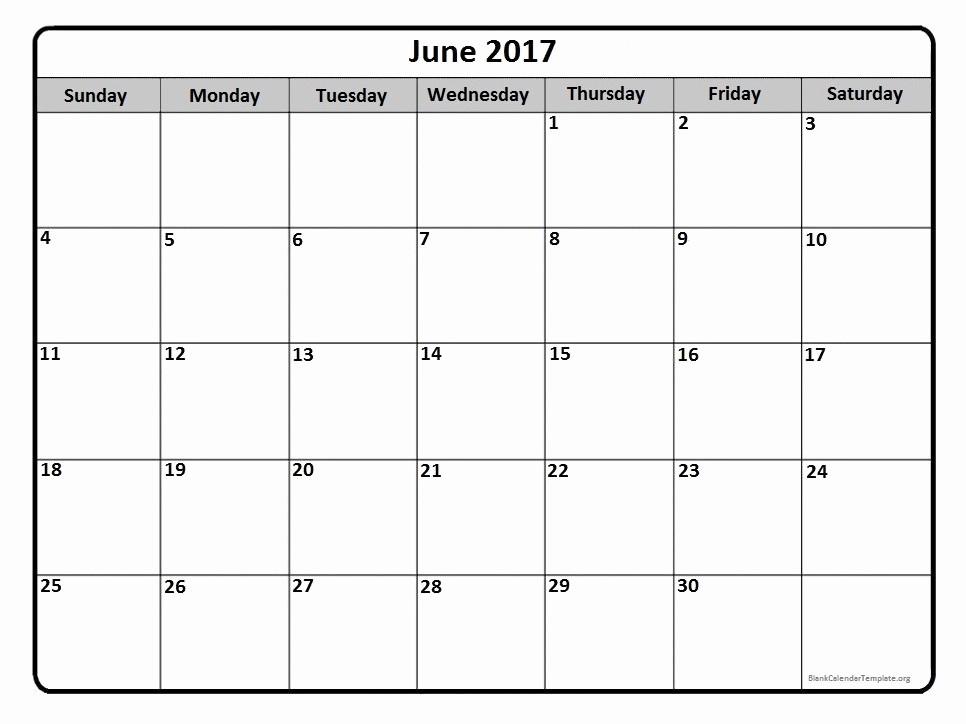 2017 Monthly Calendar Free Printable Inspirational June 2017 Calendar June 2017 Calendar Printable