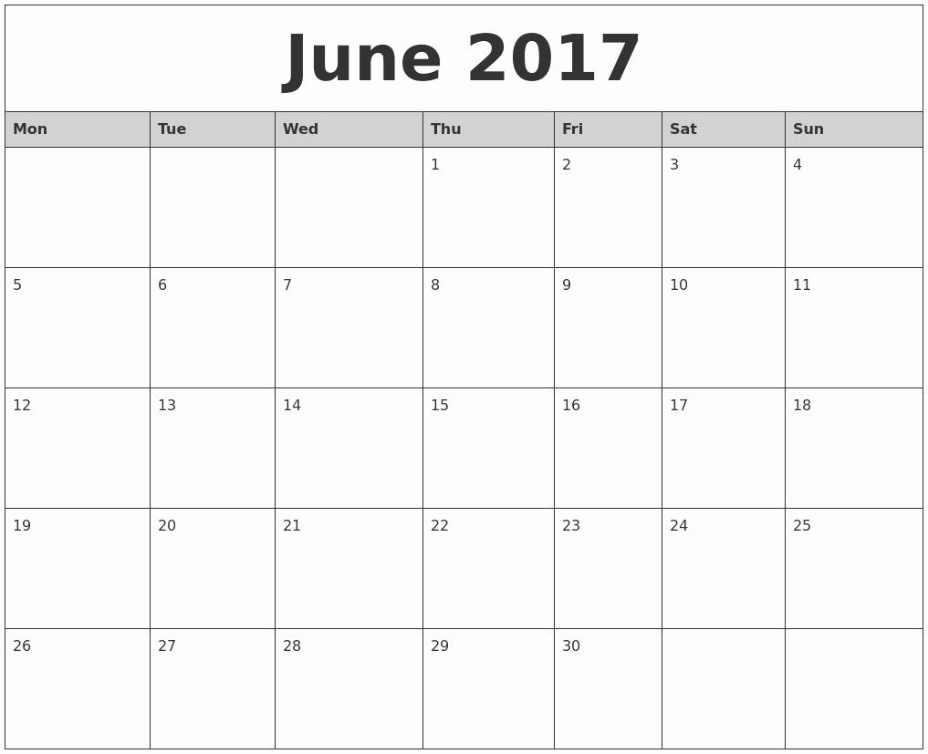2017 Monthly Calendar Free Printable Lovely June 2017 Monthly Calendar Printable