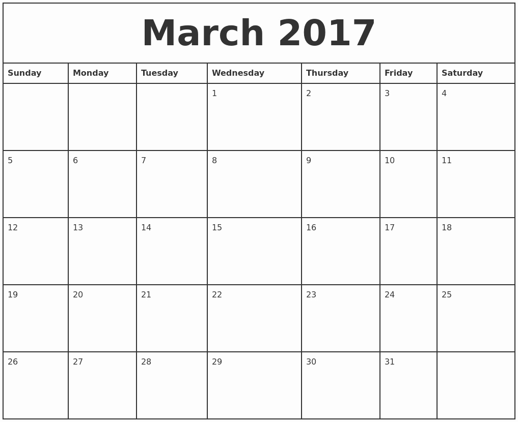 2017 Monthly Calendar Free Printable Lovely March 2017 Printable Monthly Calendar