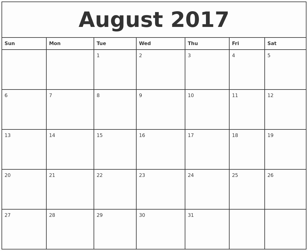 2017 Monthly Calendar Free Printable Luxury August 2017 Printable Monthly Calendar