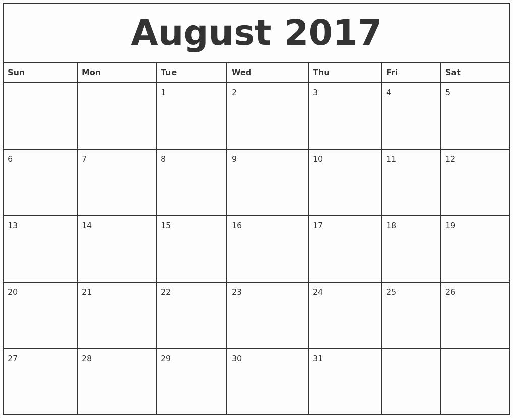 2017 Monthly Calendar Free Printable Luxury August 2017 Printable Monthly Calendar