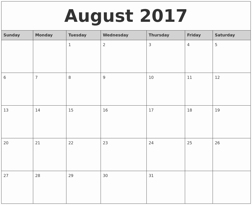 2017 Monthly Calendar Free Printable New August 2017 Monthly Calendar Printable