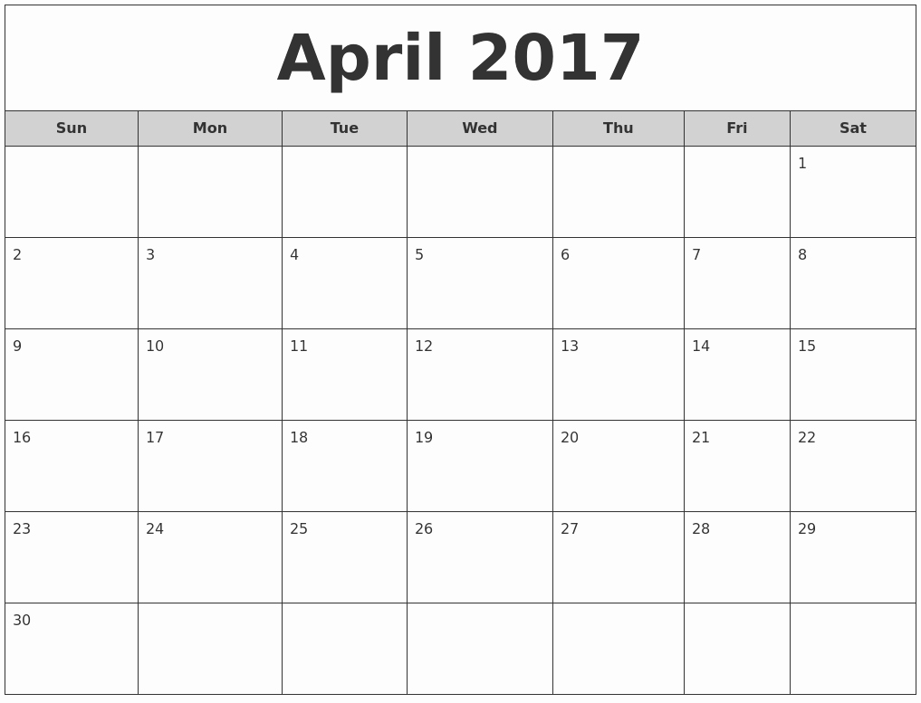2017 Monthly Calendar Free Printable Unique April 2017 Free Monthly Calendar
