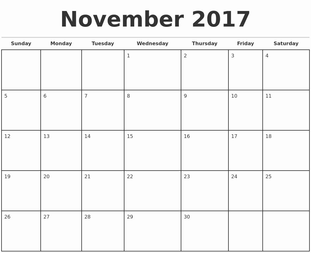 2017 Monthly Calendar Free Printable Unique November 2017 Monthly Calendar Template