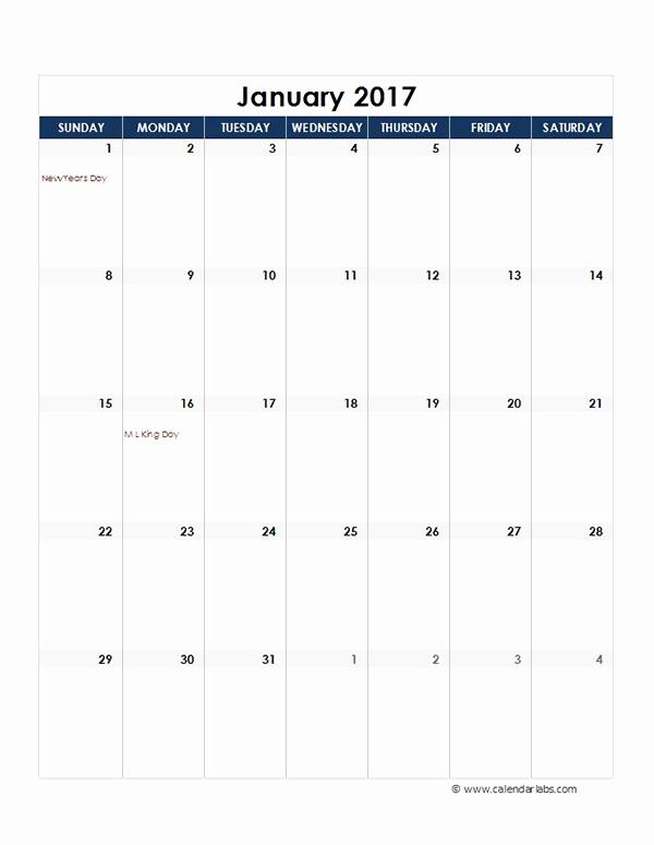 2017 Quarterly Calendar Template Excel Awesome 2017 Excel Monthly Calendar Template Free Printable