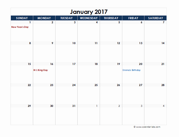 2017 Quarterly Calendar Template Excel Beautiful 2017 Monthly Calendar Excel