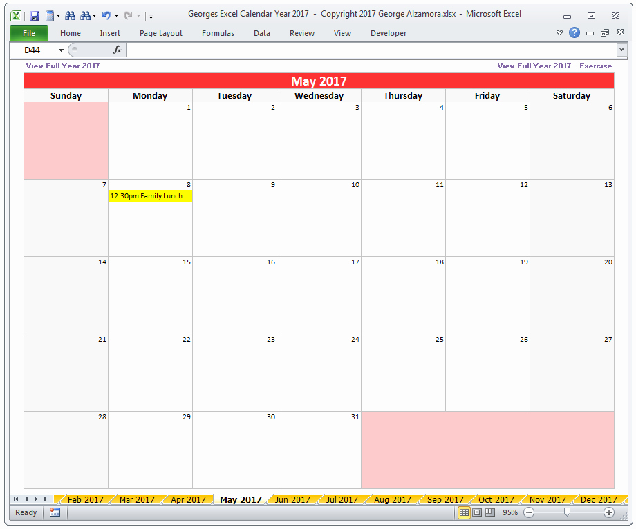 2017 Quarterly Calendar Template Excel Beautiful Excel Calendar Year 2017 Spreadsheet – Buyexceltemplates
