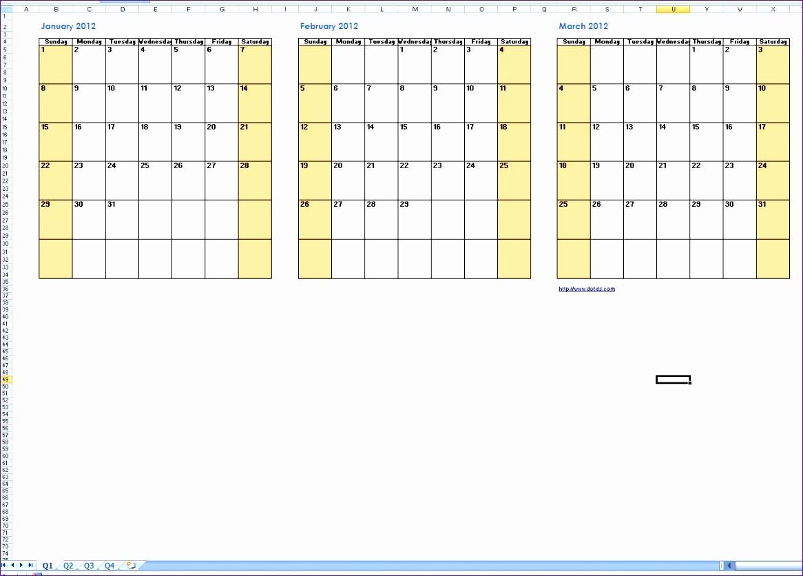 2017 Quarterly Calendar Template Excel Elegant 8 Excel Quarterly Calendar Template Exceltemplates