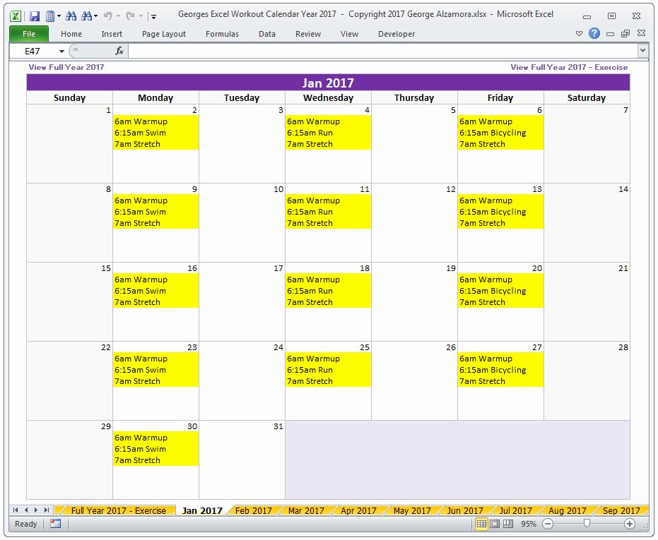 2017 Quarterly Calendar Template Excel Elegant Calendar Year 2017 Excel Fitness Calendar Template